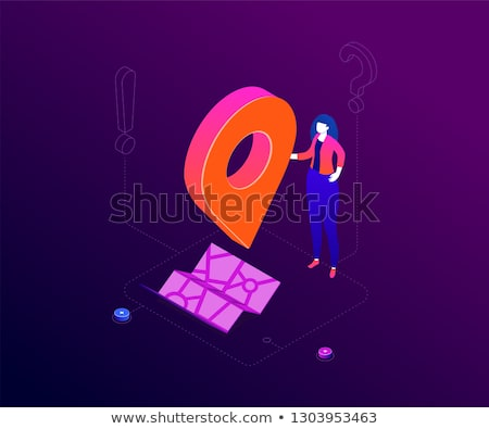 Hier moderne kleurrijk isometrische paars vrouw Stockfoto © Decorwithme
