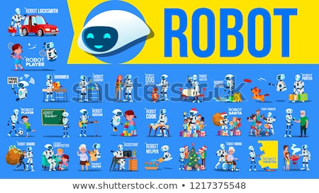 Robot Helper Set Vector. Future Lifestyle Situations. Working, Communicating Together. Cyborg, AI Fu Stock photo © pikepicture