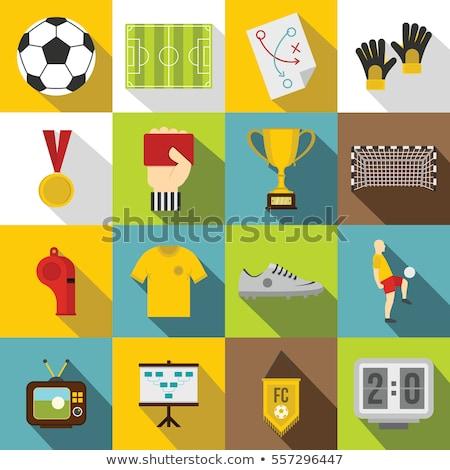 ícone · futebol · bola · portão · com · cor - foto stock © angelp