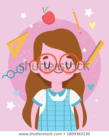 Label дизайна девушки школьную форму иллюстрация ребенка Сток-фото © colematt