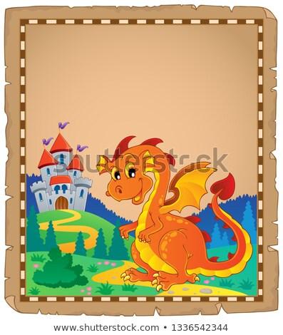 Dragon château parchemin papier bâtiment heureux Photo stock © clairev