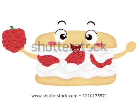 Mascotte framboise illustration rouge dessert Photo stock © lenm