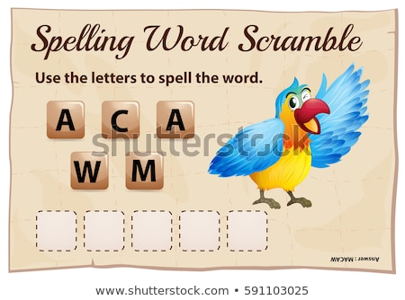 Spelling word scramble game with word macaw Stock photo © colematt