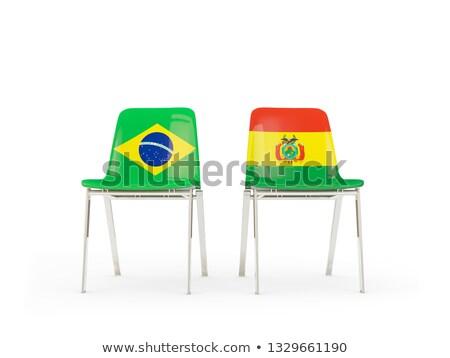 Twee stoelen vlaggen Brazilië Bolivia geïsoleerd Stockfoto © MikhailMishchenko