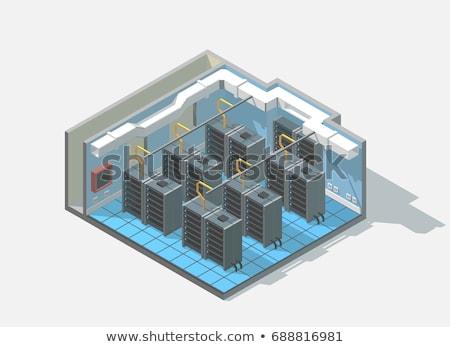 vektor · izometrikus · adatközpont · belső · szerver · szoba - stock fotó © tele52