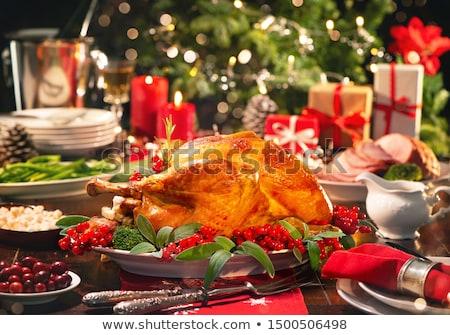 таблице служивший украшенный Рождества обеда праздников Сток-фото © dolgachov