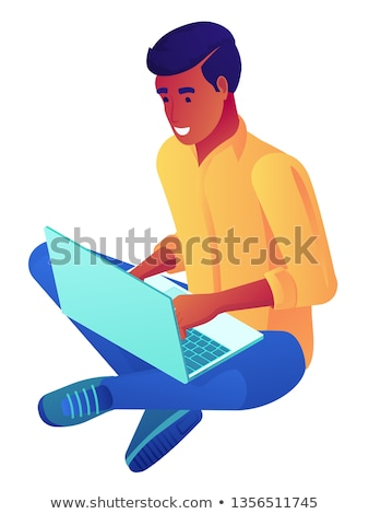 young businessman sitting cross legged with laptop isometric 3d illustration stock photo © rastudio