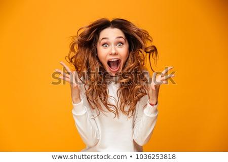 Portret geschokt jonge vrouw vergadering benen gekruist met behulp van laptop Stockfoto © deandrobot