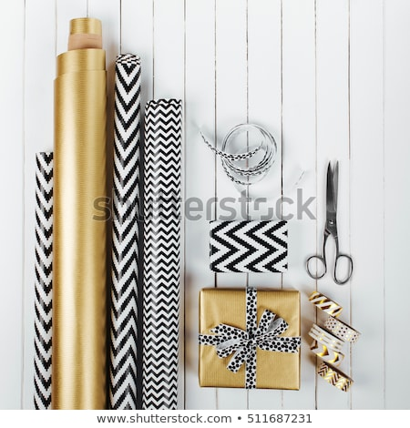 Wrapping modern Christmas or Birthday gifts presents. Foto stock © Illia