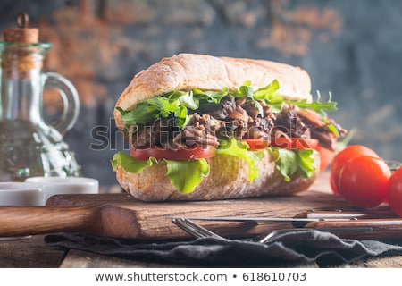 Sandwiche with beef and fresh tomatoes Сток-фото © Melnyk