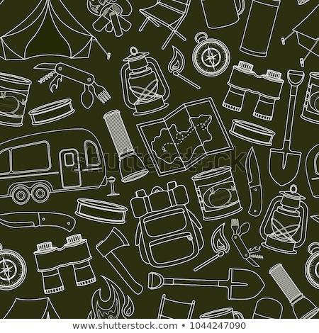 turista · felirat · ikon · gyűjtemény · kempingezés · szimbólumok · utazás - stock fotó © netkov1