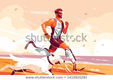 Man with prosthetic legs running on seashore Stock photo © jossdiim