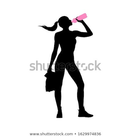 Nő ivóvíz üveg izolált rajzfilmfigura vektor Stock fotó © robuart