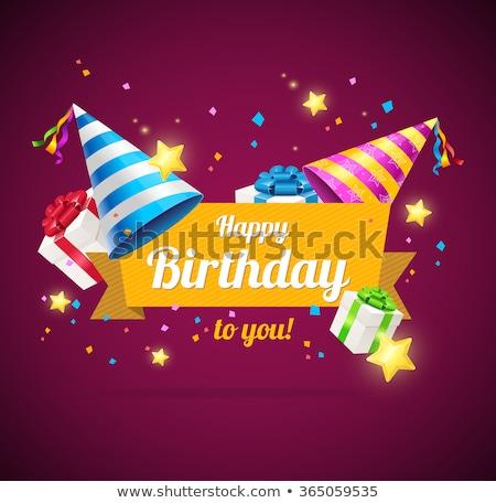 Cone boné feliz aniversário cartão postal vetor Foto stock © robuart
