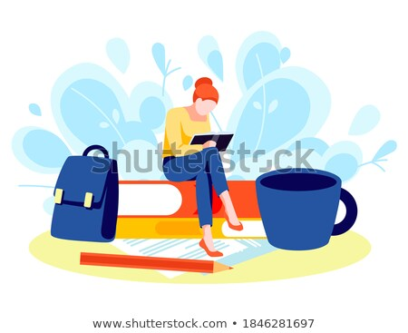 Student Woman with Textbook and Briefcase Vector Stock photo © robuart
