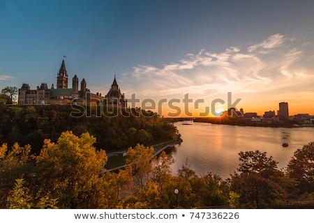 Parlamento Kanada Ottawa nehir gün batımı Bina Stok fotoğraf © Lopolo