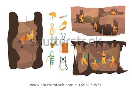 Speleologist icon set Stock photo © netkov1