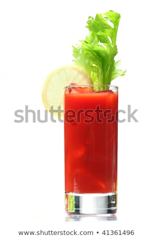 bloody mary cocktails with ice cubes and celery isolated on black stock photo © dla4