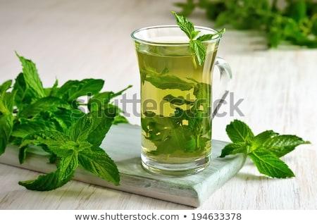 Nane çay cam ahşap sığ Stok fotoğraf © AGfoto