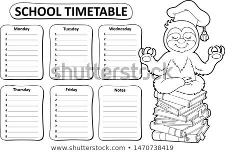 Zwart wit school dienstregeling onderwerp boeken gelukkig Stockfoto © clairev