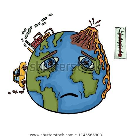 Toprak küresel isınma çizim siyah beyaz kroki stil Stok fotoğraf © patrimonio