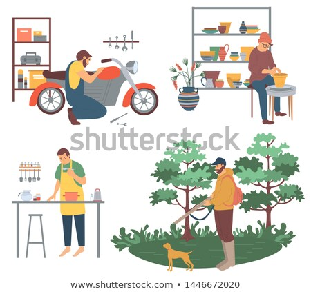 Man Cooking Hunting and Pottery Pots Making Hobby Stock photo © robuart