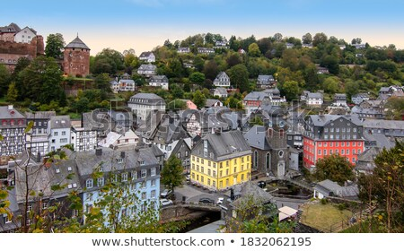 view of Monschau town centre from hill, Germany Stock photo © borisb17