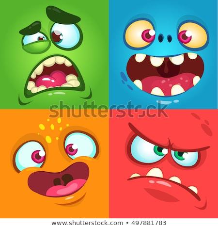 vicces · rajz · szörny · szett · dizájn · elem · baba - stock fotó © nezezon