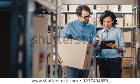 bastante · armazém · gerente · inventário · bloco · de · notas · negócio - foto stock © lopolo