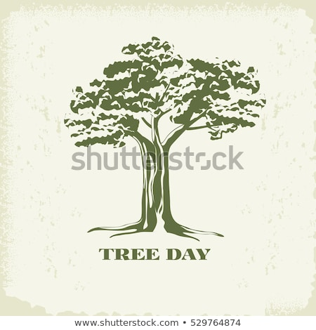Retro baobab silhouette logo Stock photo © barsrsind