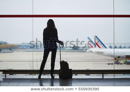 Bagaj uluslararası havaalanı genç kadın güvenlik kontrol Stok fotoğraf © lightpoet