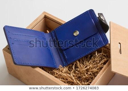 Deri cüzdan nakit para madeni para finanse Stok fotoğraf © robuart