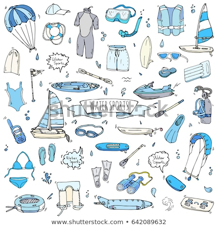 Vector doodle cartoon set of Water sport objects and symbols Stock photo © balabolka