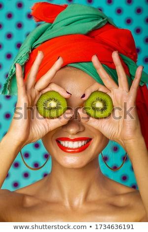 Gülen kivi etiket meyve simge Stok fotoğraf © barsrsind