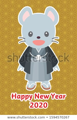 New Year card template with chinese boy and rat Stock photo © bluering