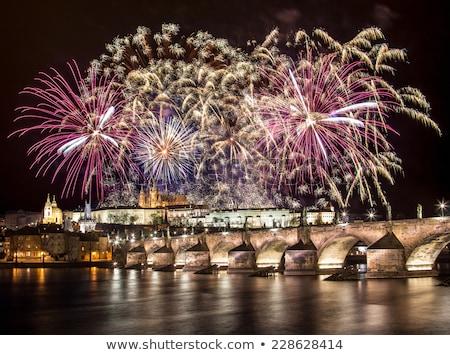 New Year's fireworks, Hradcany, Prague, Czech Republic Stock photo © phbcz