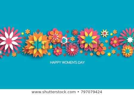 Women's day papercut spring flower woman card Stock photo © cienpies