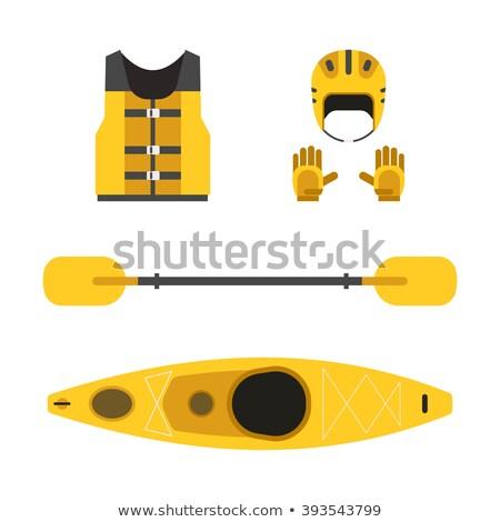 Boot helm icon vector dun lijn Stockfoto © pikepicture