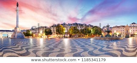 Vierkante Lissabon beroemd Portugal huis Blauw Stockfoto © neirfy
