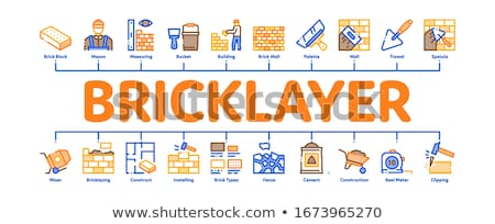 Bricklayer Industry Minimal Infographic Banner Vector Stock photo © pikepicture