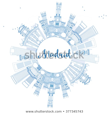 Outline Madrid Skyline with Blue Buildings and Copy Space.  Stock photo © ShustrikS