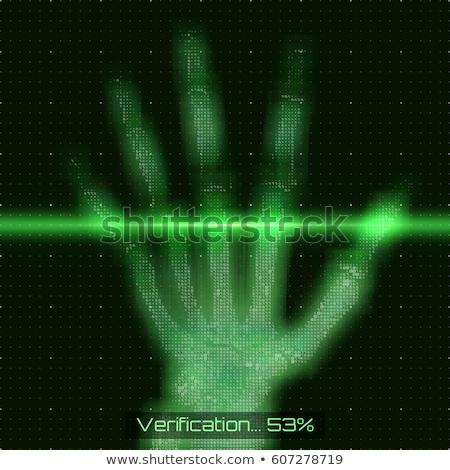 Fingerprint scan futuristic concept on abstract green matrix symbols Stock photo © evgeny89