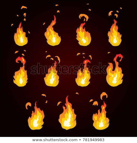 Sprite sheet for cartoon red explosion, game effect animation of 12 frames on transparent background Stock photo © evgeny89