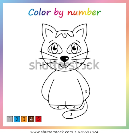 Cat - painting page, color by numbers. Worksheet for education. Game for kids Stock photo © natali_brill