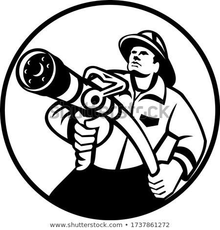Fireman Firefighter Aiming Fire Hose Circle Black and White Stock photo © patrimonio