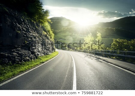 Road to the mountain. Scenic landscape with asphalt road passing through forest to mountains Stock photo © robuart