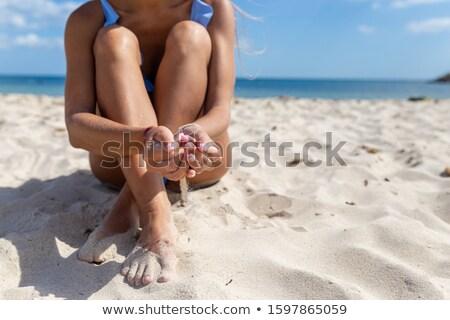 美しい 若い女性 水着 座って 赤 ストックフォト © dacasdo