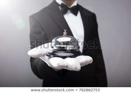ウェイター 笑みを浮かべて 銀 トレイ ストックフォト © lovleah