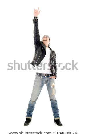 guitarist making a rock and roll gesture Stock photo © feedough