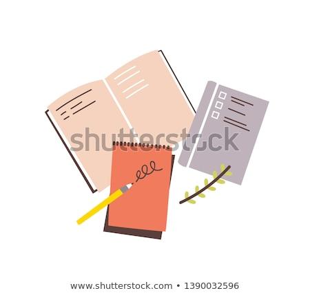 Branco abrir caderno caneta madeira fundo Foto stock © yoshiyayo